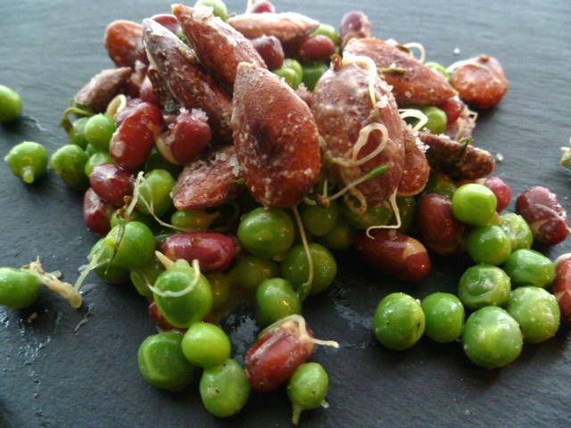 salade de petits pois et germes d 39 azukis aux amandes grill es blog de recettes bio le cri de. Black Bedroom Furniture Sets. Home Design Ideas