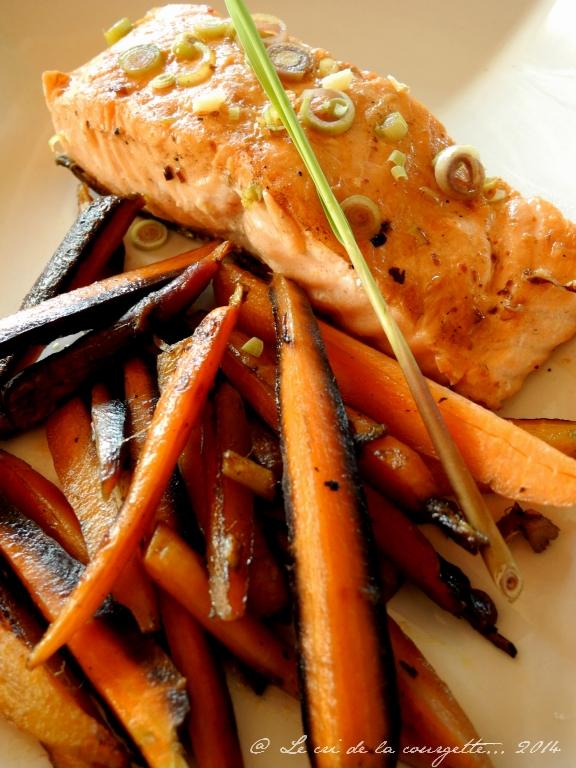 Wok de saumon & carottes à la citronnelle et huile de coco