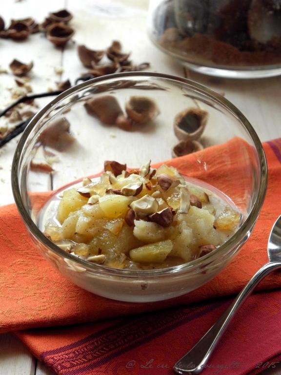 Crème dessert à la noisette & compotée pomme, poire et citron confit {sans gluten, sans lactose}