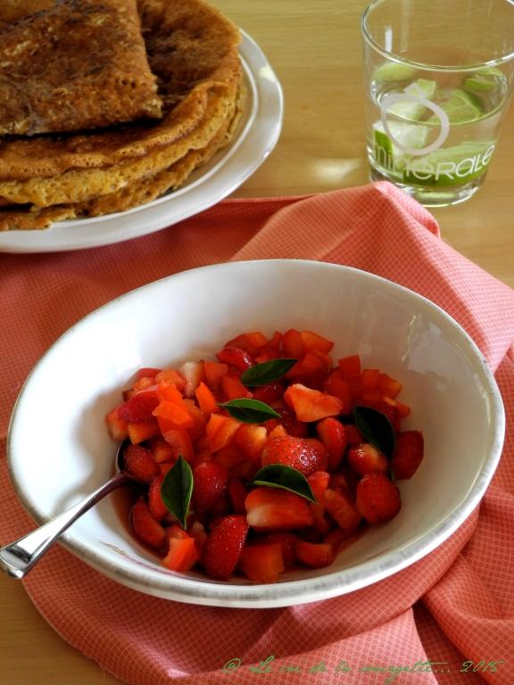 Tartare de fraises et poivron rouge au basilic