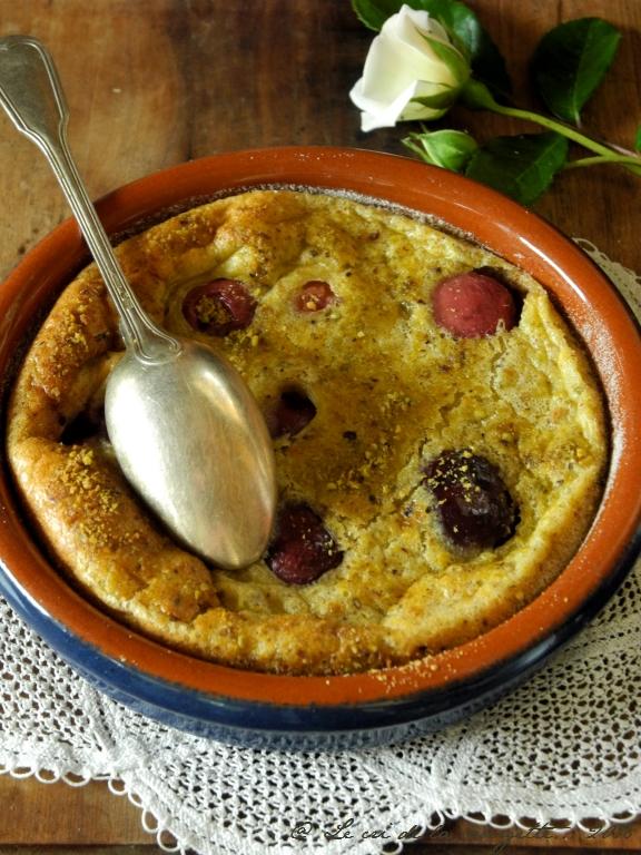 Clafoutis cerises, pistache & coco {sans gluten, sans lactose}