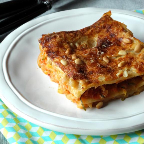 Lasagnes aux courgettes, mascarpone et pignons