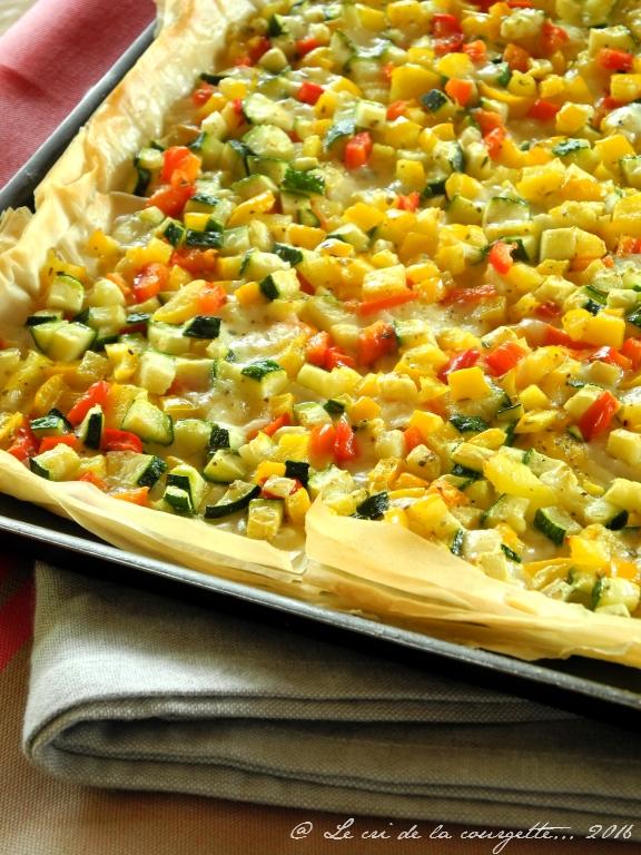 Tarte fine aux petits légumes et au fromage de Brebis