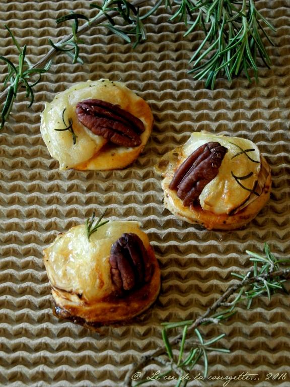 Mini tartelettes chèvre - miel - pécan - romarin