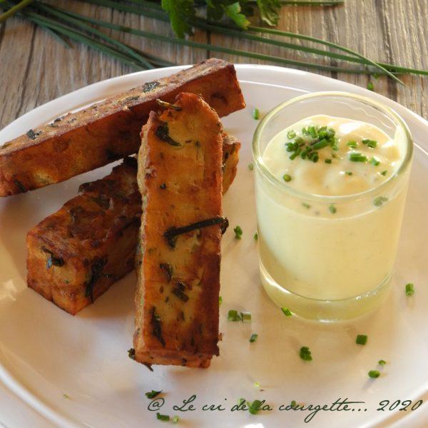 Panisse de lentilles vertes aux herbes, sauce légère citronnée